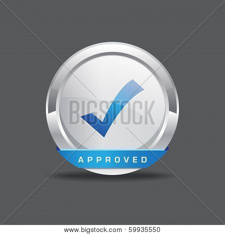 Approved Round Vector Icon Buttn