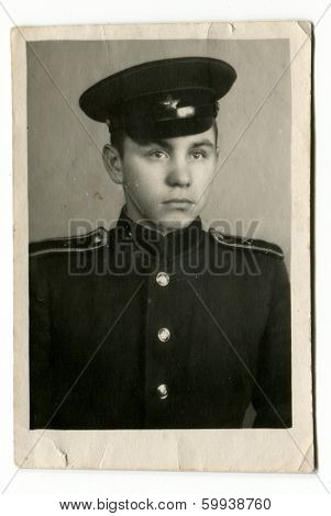 KURSK, USSR - CIRCA 1954:  An antique photo shows  portrait of a cadet in uniform.