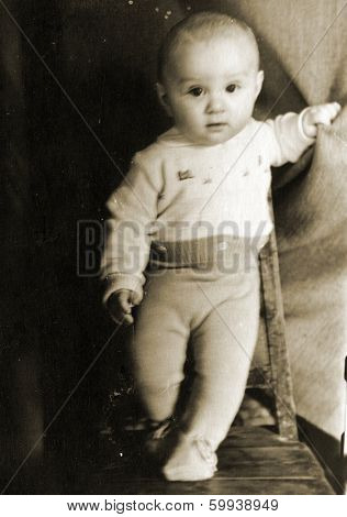 KURSK, USSR - CIRCA 1969:  An antique photo shows  portrait of a baby boy.