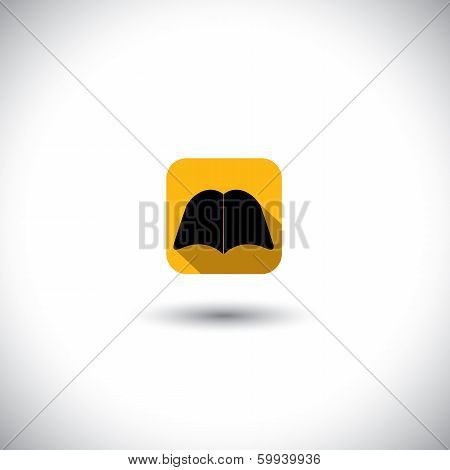 Concept Vector Icon - Abstract Silhouette Of A Book