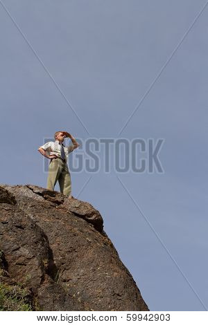 businessman standing at top