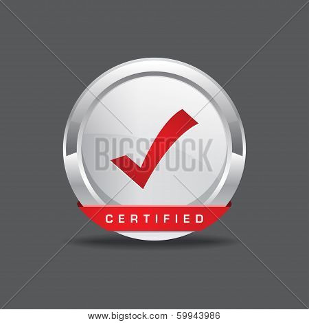 Certified Tick Mark Vector Icon Button