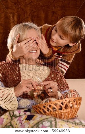 Senior woman with her grandson