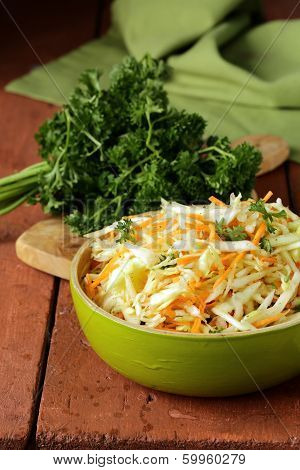 Traditional coleslaw (cabbage salad, carrot and mayonnaise)