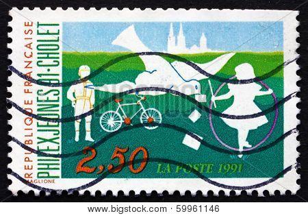 Postage Stamp France 1991 Children Playing, Silhouetts