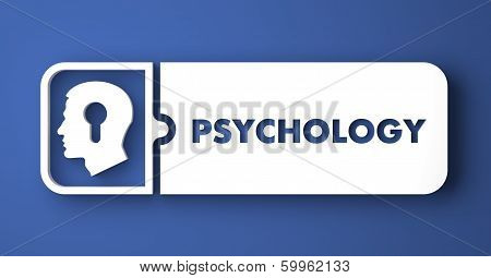 Psychology Concept on Blue in Flat Design Style.