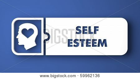 Self Esteem Concept on Blue in Flat Design.