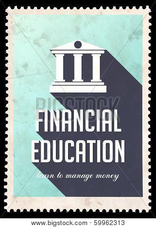 Financial Education on Light Blue in Flat Design.