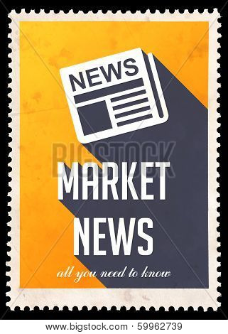 Market News on Yellow in Flat Design.