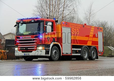 Scania P360 Fire Engine At Cement Plant Fire
