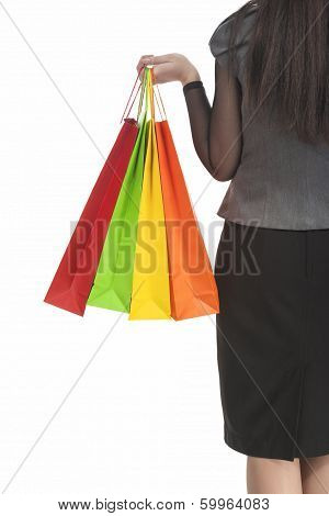 Shopping Concept: Back View Of Caucasian Woman Holding Color Shopping Bags