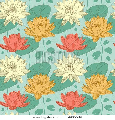 Lotus flowers in seamless pattern