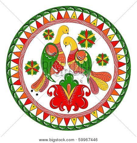 Russian traditional ornament with paradise birds and flowers of Severodvinsk region
