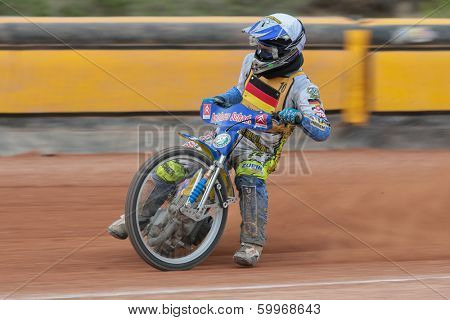 EGGENDORF,  AUSTRIA - APRIL 28 Ronny Weis (#10 Germany) places 2nd in the Austrian speedway championship on April 28, 2013 in Eggendorf, Austria.