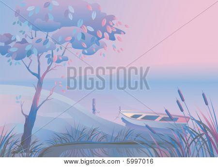 Landscape. Boat. Bulrush.