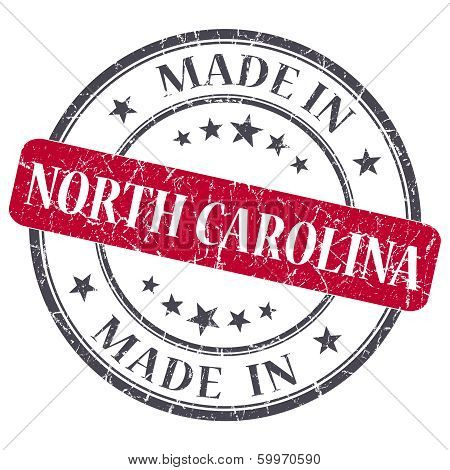 Made In North Carolina Red Round Grunge Isolated Stamp