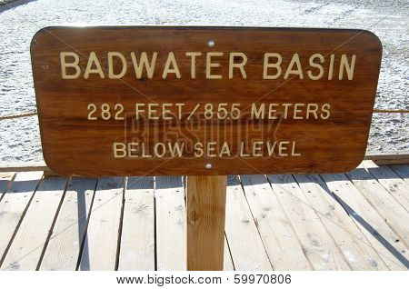 Badwater Basin Sign, Death Valley NP