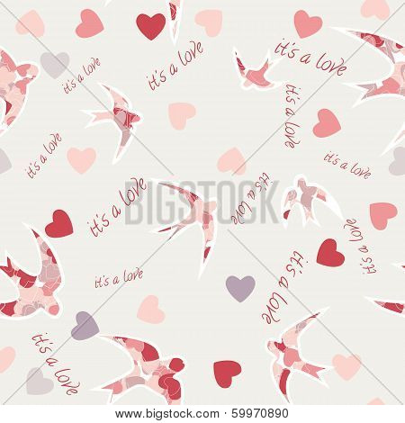Seamless Texture With Swallows And Hearts