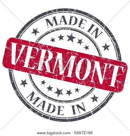 Made In Vermont Red Round Grunge Isolated Stamp