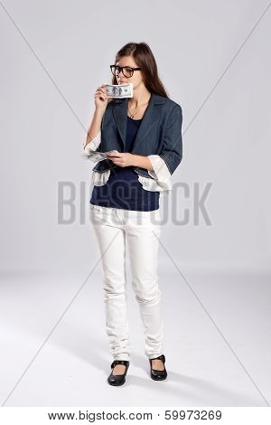 Young Long-haired Woman And Money