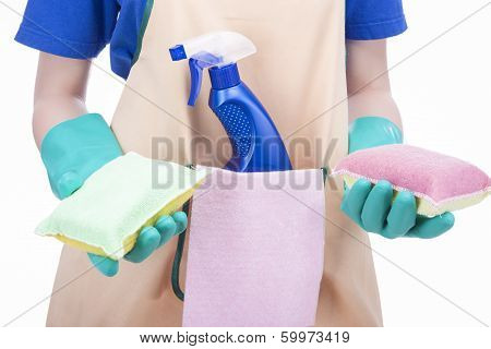 Cleaning Concept: Female Hands Holding Cleaning Staff And Equipment