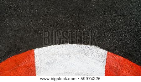 Texture Of Race Asphalt And Curved Curb Grand Prix Circuit