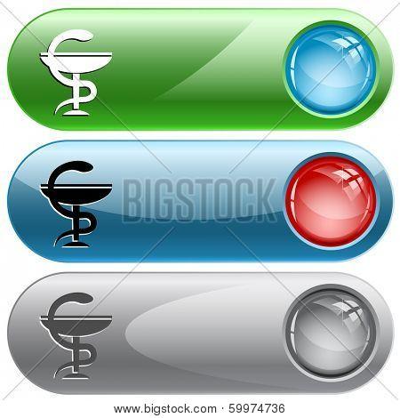 Pharma symbol. Internet buttons. Raster illustration.