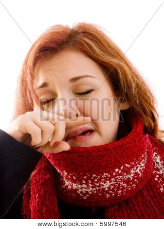 Sad Girl In Winter Clothes
