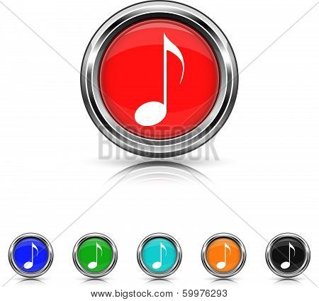 Musical Note Icon - Six Colors Vector Set