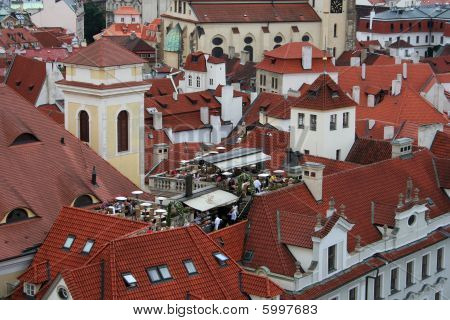 Aerial View On Prague's Old Buildings On Staromestske Namesti(square)