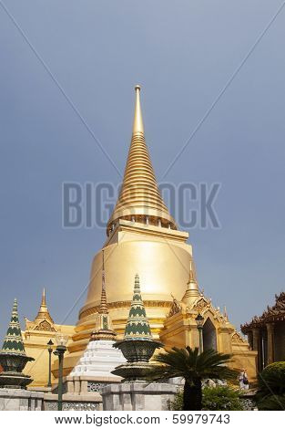 Wat Phra Kaeo, Temple of the Emerald Buddha and the home of the Thai King. Wat Phra Kaeo is one of Bangkok's most famous tourist sites.