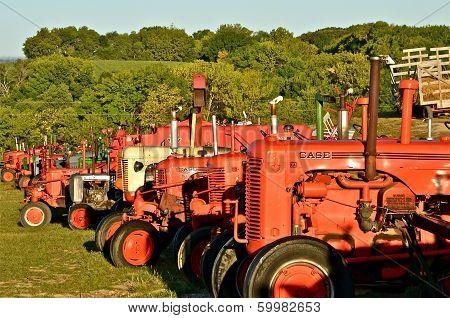 Row of Case Tractors