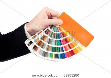 businessman hand holding a pantone palette on a white background