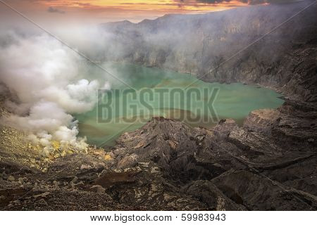Sulphatic Lake In A Crater Of Volcano Ijen
