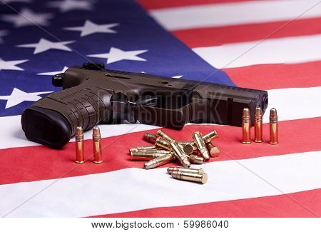 Pistol And Ammo On Flag.