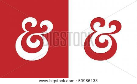 Custom ampersand. Hand drawn ampersand symbol for wedding invitation. Vector illustration