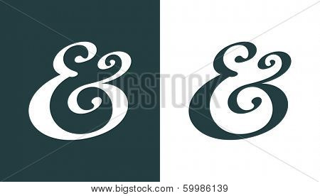 Hand drawn custom ampersand. Decorative ampersand symbol for wedding invitation. Vector illustration