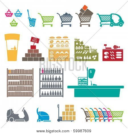 SET OF COLORFUL SHOPPING MALL ICONS