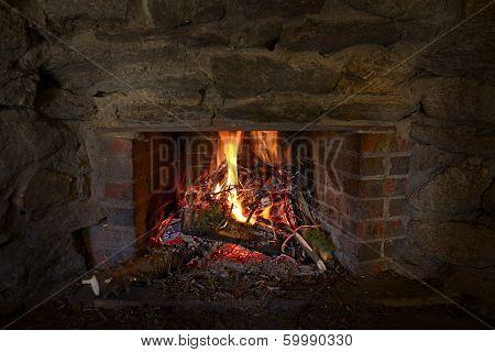 Burning Stone Fireplace