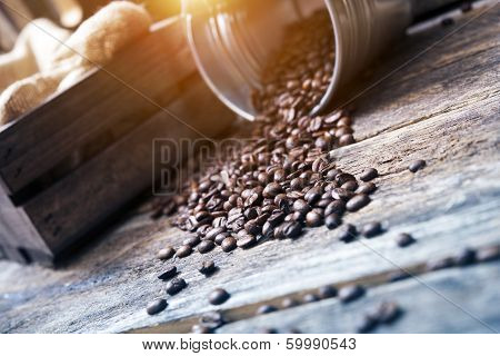 Coffee Beans In Bucket