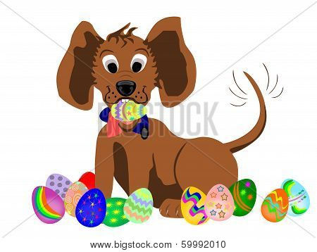 Dog With Easter Egg In Mouth