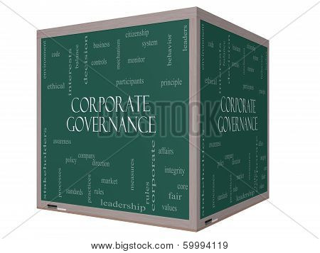 Corporate Governance Word Cloud Concept On A 3D Cube Blackboard