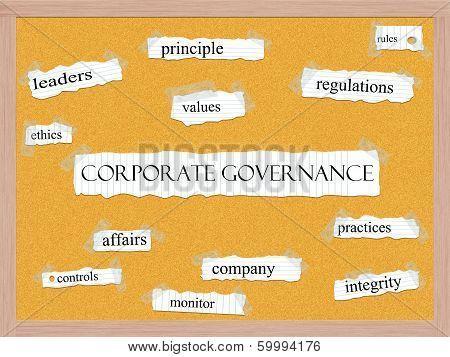 Corporate Governance Corkboard Word Concept