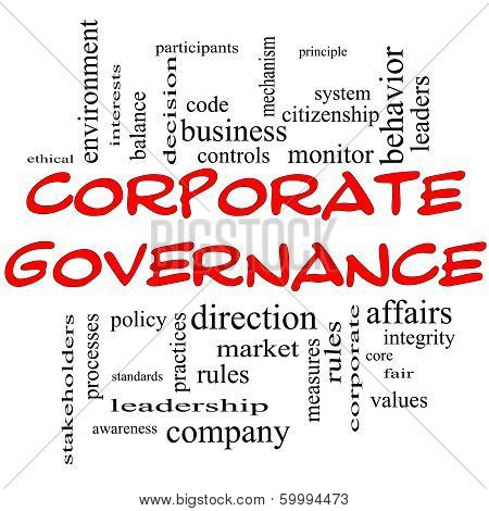 Corporate Governance Word Cloud Concept In Red Caps