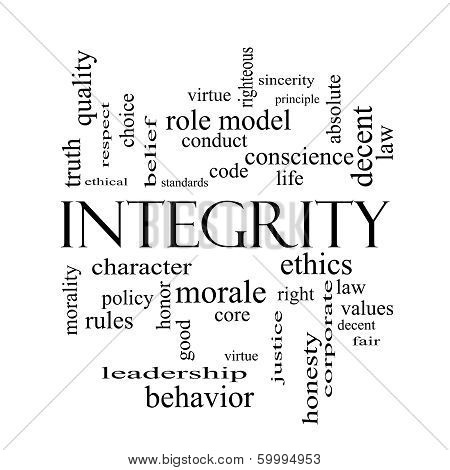 Integrity Word Cloud Concept In Black And White