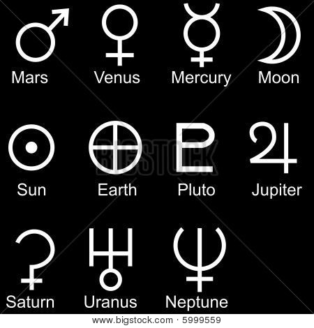 planetary sign icon set Black