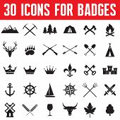 stock photo of wigwams  - 30 vector icons for badges and different design works - JPG
