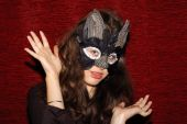 foto of catwomen  - Young beautiful caucasian girl wearing a cat mask - JPG