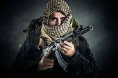 foto of ak-47  - Terrorist with AK - JPG