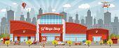 pic of mall  - Vector illustration of blue shopping center  - JPG